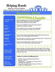 Volunteer Services Newsletter Salinas Valley Memorial Healthcare System
