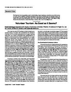 Volunteer Tourism: As Good as It Seems?