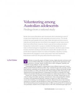 Volunteering among Australian adolescents Findings from a national study