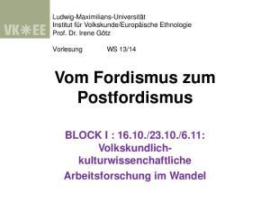 Vom Fordismus zum Postfordismus