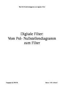 Vom Pol-Nullstellendiagramm zum digitalen Filter. Digitale Filter: Vom Pol- Nullstellendiagramm zum Filter