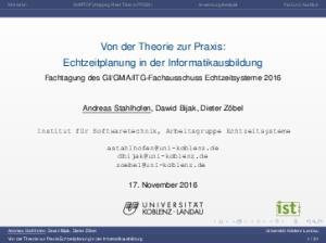 Von der Theorie zur Praxis: Echtzeitplanung in der Informatikausbildung