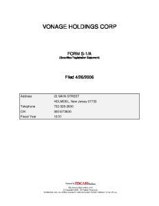 VONAGE HOLDINGS CORP