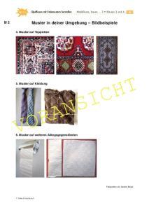 VORANSICHT. Muster in deiner Umgebung Bildbeispiele. 4. Muster auf Teppichen. 5. Muster auf Kleidung. 6. Muster auf weiteren Alltagsgegenständen
