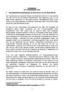VORBERICHT zum Haushaltsplan I. Finanzielle Rahmenbedingungen der Kommunen und der Stadt Minden