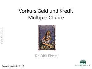 Vorkurs Geld und Kredit Multiple Choice