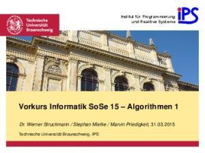 Vorkurs Informatik SoSe 15 Algorithmen 1
