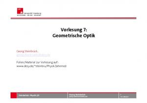 Vorlesung 7: Geometrische Optik