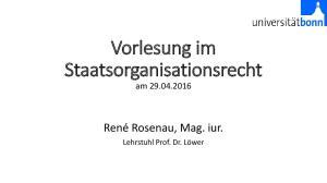 Vorlesung im Staatsorganisationsrecht am