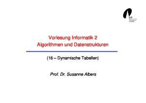 Vorlesung Informatik 2 Algorithmen und Datenstrukturen