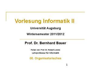 Vorlesung Informatik II