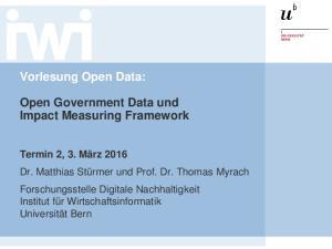 Vorlesung Open Data: Open Government Data und Impact Measuring Framework