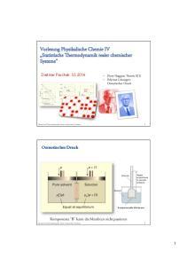 Vorlesung Physikalische Chemie IV Statistische Thermodynamik realer chemischer Systeme