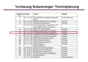 Vorlesung Solarenergie: Terminplanung