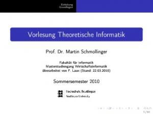 Vorlesung Theoretische Informatik