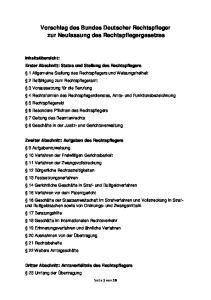 Vorschlag des Bundes Deutscher Rechtspfleger zur Neufassung des Rechtspflegergesetzes