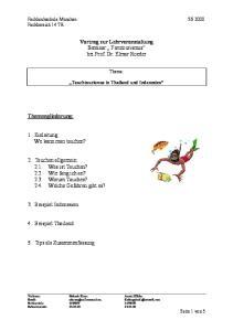 Vortrag zur Lehrveranstaltung Seminar Ferntourismus bei Prof. Dr. Elmar Roeder