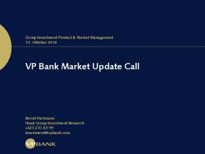 VP Bank Market Update Call