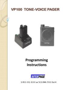 VP100 TONE-VOICE PAGER. Programming Instructions or Ext 4