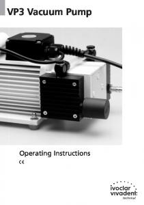 VP3 Vacuum Pump. Operating Instructions