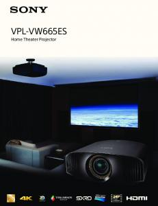 VPL-VW665ES. Home Theater Projector