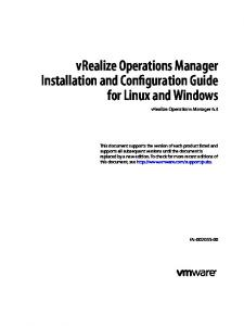 vrealize Operations Manager Installation and Configuration Guide for Linux and Windows