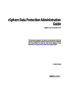 vsphere Data Protection Administration Guide vsphere Data Protection 5.5.5