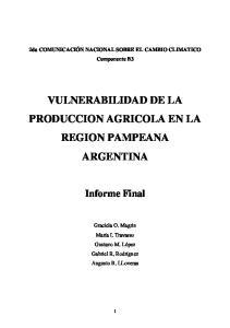 VULNERABILIDAD DE LA PRODUCCION AGRICOLA EN LA REGION PAMPEANA ARGENTINA
