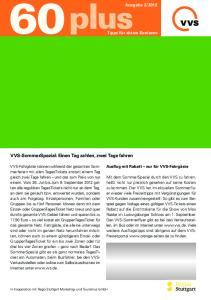 VVS-SommerSpezial: Einen Tag zahlen, zwei Tage fahren