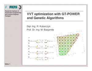 VVT optimization with GT-POWER and Genetic Algorithms
