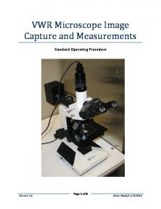 VWR Microscope Image Capture and Measurements. Standard Operating Procedure