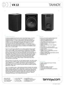 VX 12. Product Description. Features. Applications
