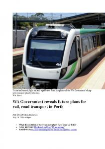 WA Government reveals future plans for rail, road transport in Perth