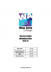 Wac Arts College Admissions Policy