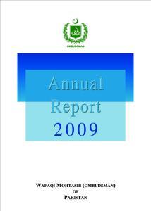 WAFAQI MOHTASIB (OMBUDSMAN) OF PAKISTAN ANNUAL REPORT 2009