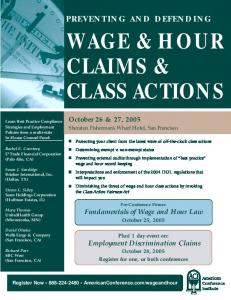 WAGE & HOUR CLAIMS & CLASS ACTIONS