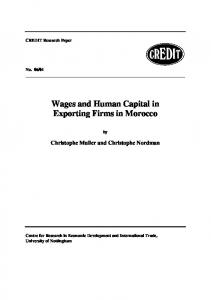 Wages and Human Capital in Exporting Firms in Morocco
