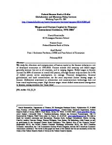 Wages and Human Capital in Finance: International Evidence, *