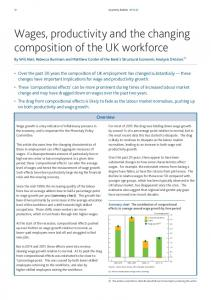 Wages, productivity and the changing composition of the UK workforce