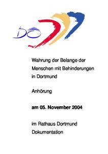 Wahrung der Belange der Menschen mit Behinderungen in Dortmund