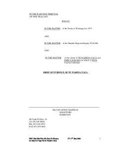 WAI 423 BRIEF OF EVIDENCE OF TE WARENA TAUA. McCAW LEWIS CHAPMAN SOLICITORS HAMILTON
