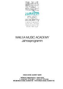 WAILEA MUSIC ACADEMY Jahresprogramm
