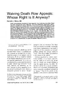 Waiving Death Row Appeals: Whose Right Is It Anyway?