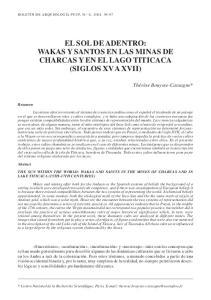 WAKAS Y SANTOS EN LAS MINAS DE CHARCAS Y EN EL LAGO TITICACA (SIGLOS XV A XVII)