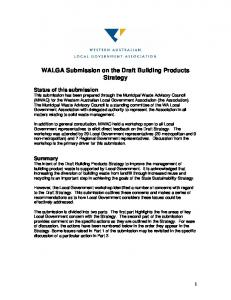 WALGA Submission on the Draft Building Products Strategy