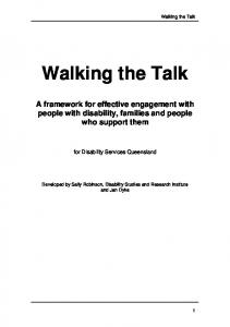 Walking the Talk. A framework for effective engagement with people with disability, families and people who support them
