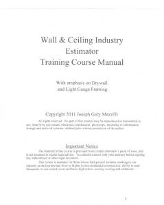 Wall & Ceiling Industry Estimator Training Course Manual