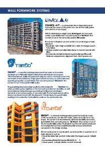 WALL FORMWORK SYSTEMS