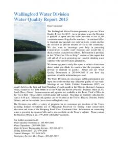Wallingford Water Division Water Quality Report 2015
