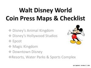 Walt Disney World Coin Press Maps & Checklist